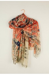 One Hundred Stars Rome Map Scarf