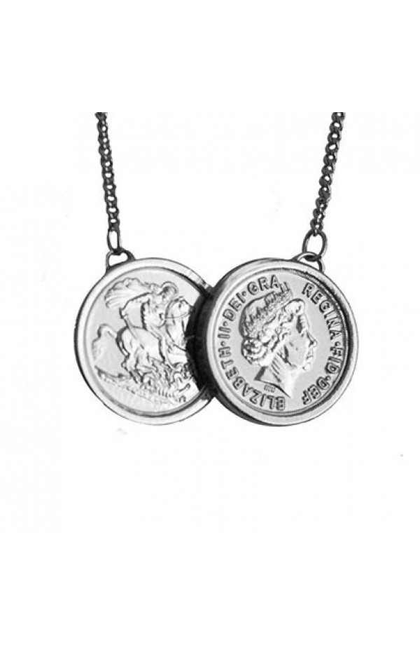 two coin necklace silver