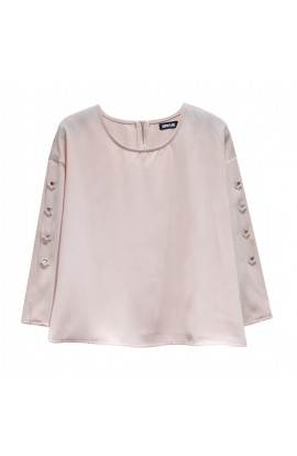 Button Sleeve Top Pink
