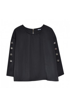 Button Sleeve Top Black