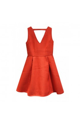 Waffle Skater Dress Flame Red
