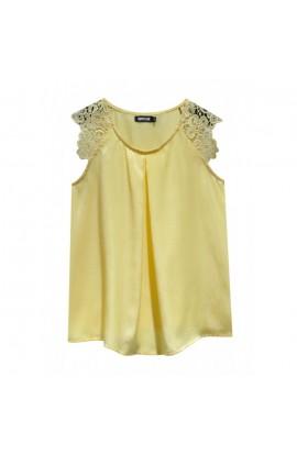 Crochet Shoulder Satin Top Yellow
