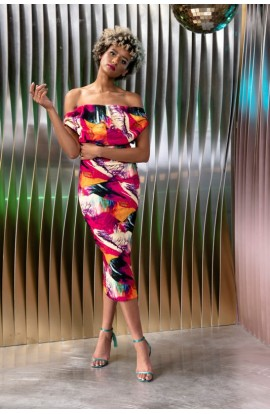 Kevan Jon Sian Drape Pencil Dress Abstract Dress