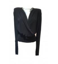 Kevan Jon Ava Wrap Jersey Top Black