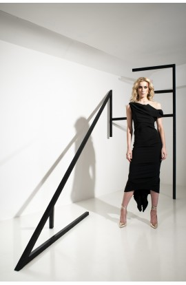 Kevan Jon Sian Drape Dress Black