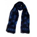 Silk Skull Scarf Black/Blue