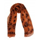 Silk Skull Scarf Orange/Black