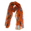 Silk Skull And Fish Scarf Orange