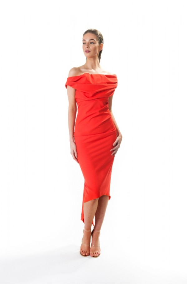 Kevan Jon Sian Drape Dress Red