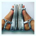 Stud Detail Small Wedge Silver