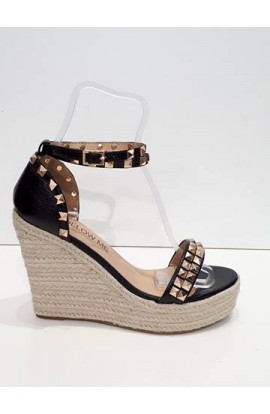 Stud Detail Espadrille Wedge Black