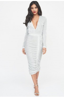 Lavish Alice Iridescent Sequin Midi Dress Silver  LA586