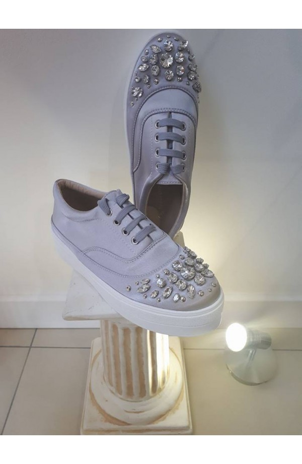 Jewel Front Trainers Grey