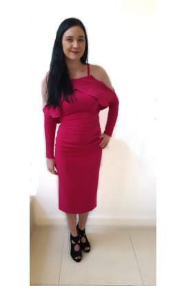 Kevan Jon Marlene Frill Dress  Fuschia