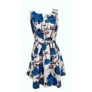 Rose Print Skater Dress Blue