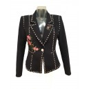 Stud Flower Detil Blazer Black