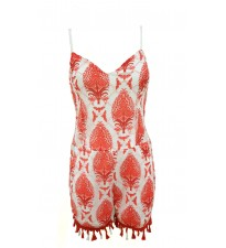 Patterned Playsuit Red
