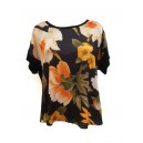 Floral Front Silk T-Shirt Black