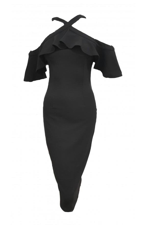 Halter Frill Cold Shoulder Dress Black