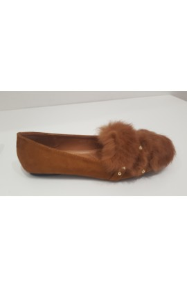 Fur And Stud Shoe Tan