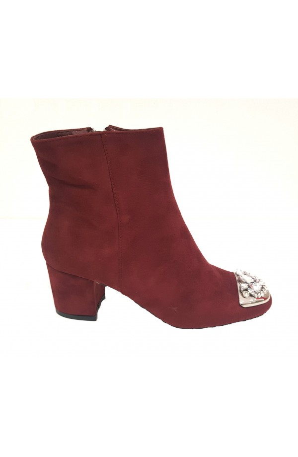 Jewel Toe Cap Ankle Boots Wine