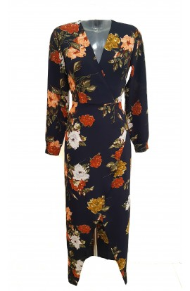 Floral Long Sleeve Maxi Navy