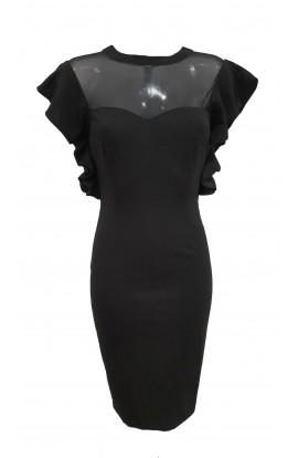 Sheer Top Dress Black