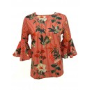 Floral Striped Frill Sleeve Top Red
