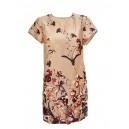 Satin Short Floral Dress Beige