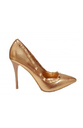 Metallic Stud Heel Rose Gold
