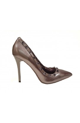 Metallic Stud Heel Pewter