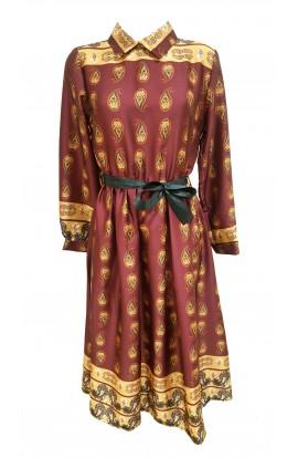 Long Paisley Shirt Dress