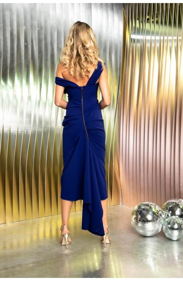 Kevan Jon Sian Drape Dress Cobalt
