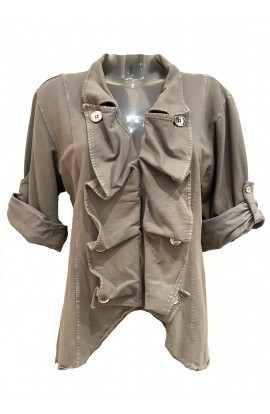 Wet Look Jacket Khaki