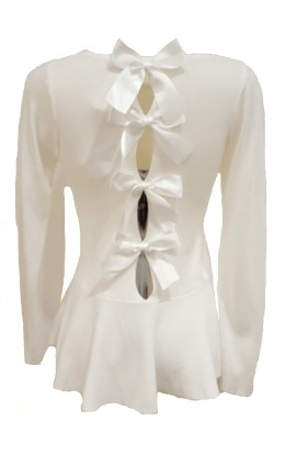 Bow Back Peplum Jumper White
