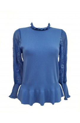 Frill Neck Lace Sleeve Jumper Blue