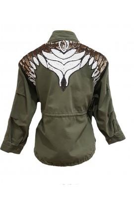 Sequin Back Jacket Khaki