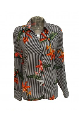 Floral Stripe Shirt Black