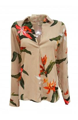 Floral Stripe Shirt Gold