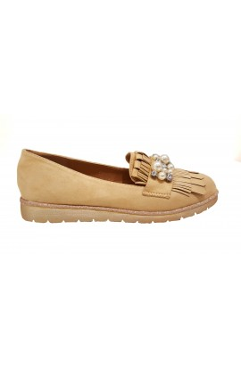 Pearl And Fringe Shoes Beige