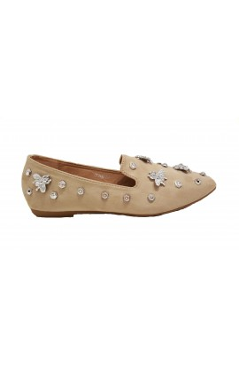 Fly Embellished Shoes Beige