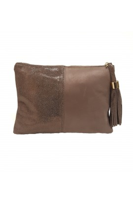 Leather And Mock Suede Clutch Bag Taupe