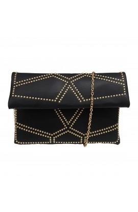 Fold Over Stud Clutch Bag Black