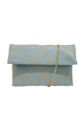 Fold Over Stud Clutch Bag Light Blue
