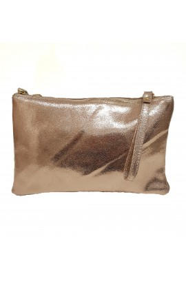 Leather Zip Top Clutch Bag Rose Gold