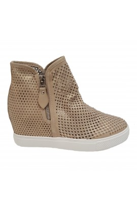 Diamante Wedge Trainer Beige