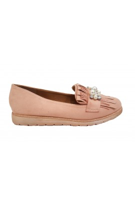 Pearl And Fringe Shoes Pink