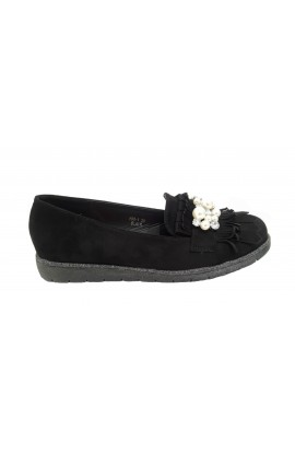 Pearl And Fringe Shoes Black