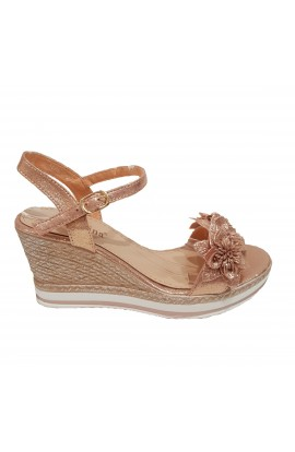Flower Front Wedge Champagne