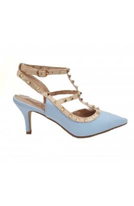 Stud Ankle Strap Heels Light Blue